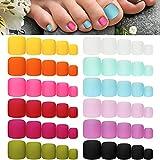 press on toenails - 336 Pieces 12 Sets False Toe Nails Matte Short Square Fake Toenails Full Cover Glue-on Fake Toe Nails Solid Color Matte False Toe Nails for Women Girls Favors (Fresh Colors)