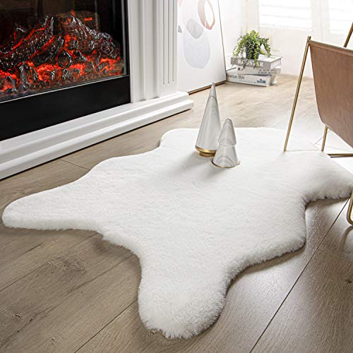 Ashler Ultra Soft Faux Rabbit Fur Chair Couch Cover Area Rug for Bedroom Floor Sofa Living Room White 2 x 3 Feet