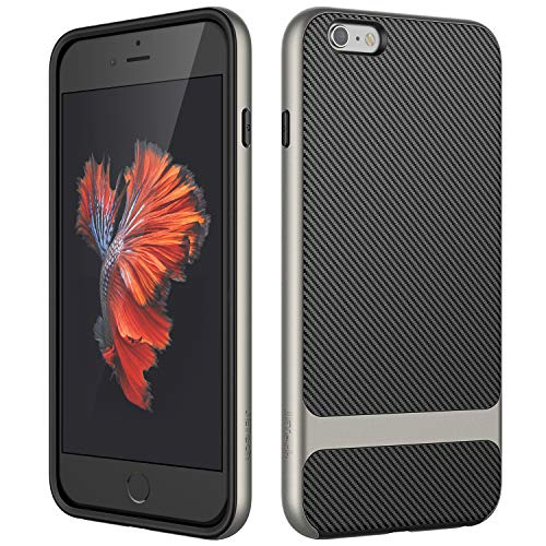 JETech - Funda para iPhone 6s Plus iPhone 6 Plus, Carcasa con Fibra de Carbono, Anti-Choques, Gris