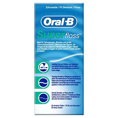 Oral B SuperFloss Super - Filo interdentale, Confezione da 50 pezzi