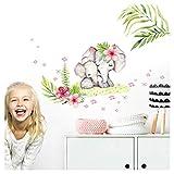Little Deco DL357 - Adhesivo decorativo para pared, diseño de elefantes y flores, L - 109 x 61 cm (BxH)