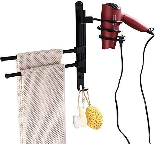 Badkamerrekplank, badkamerplankruimte Aluminium 180 graden draaibaar handdoek Sorage-rek, multifunctioneel, creatieve föhnbeugel met stopcontact, badkameraccessoires, zwart roestvrij (maat: A)