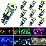 74 bulb led - 10X T5 LED Bulbs Wedge with Twist Lock Socket 74 70 37 17 2721 PC74 PC37 LED Lamps for Car Interior Gauge Cluster Dashboard Instrument Panel Indicators (Ice Blue)