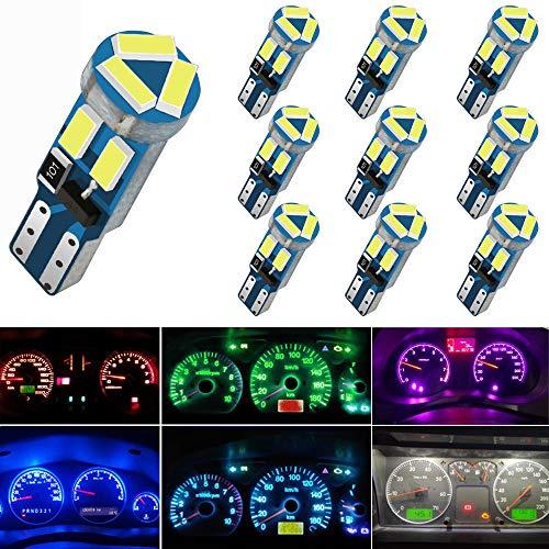 10 bombillas T5 LED, para cuadro de instrumentos, base tipo cuña, con conector por bloqueo, 74 70 37 17 2721 PC74 PC37, para Interior de Coche, panel de indicadores, panel de instrumentos