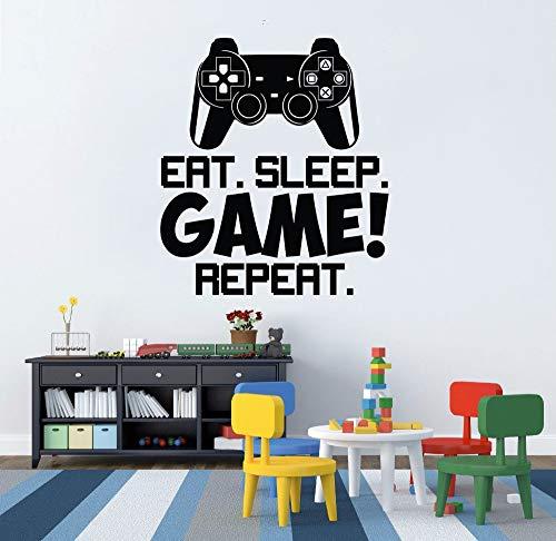 Videospiel Gamer Controller Eat Sleep Spiel Wandaufkleber Wiederholen Wandtattoo Wandkunst Jungen Room Decor Poster 56x64cm