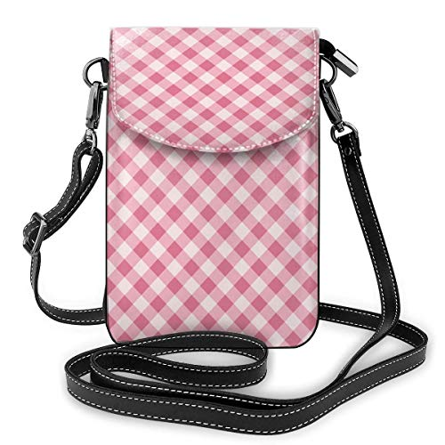 Lawenp Pink Lattice Geometric Crossbody Phone Purse Small Mini Shoulder Bag Cell Phone Pouch Leather Wallet For Women Girls