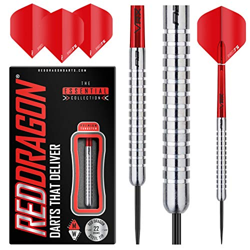 RED DRAGON Hell Fire A: 22g - 80% Tungsten Darts (Steel Dartpfeile) mit Flights, Schäfte