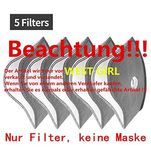 WESTGIRL Staubmaske mit Aktivkohle N95-Filtern, Waschbare und Wiederverwendbare Atemmaske für Pollenallergie,PM2.5, Holzbearbeitung, Mähen, Laufen, Radfahren, Outdoor-Aktivitäten