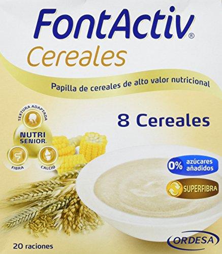 Fontactiv 8 cereales 600 grs, papilla de cereales de alto valor nutricional para adultos y mayores, Mezcla de 8 cereales : trigo, arroz, cebada, centeno, maíz, mijo, sorgo y avena.