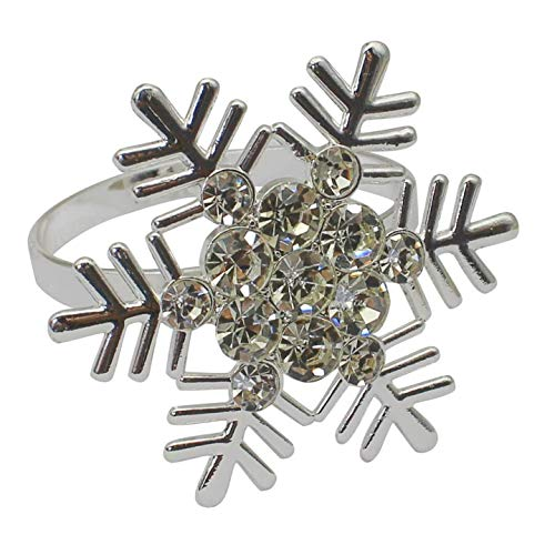 ACAMPTAR Set of 10 Silver Snowflake Christmas Napkin Rings for Dining Table Setting- Rustic Dinner Tables Setting Decoration