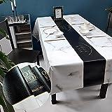 Iczodrow Manteles De Diseño De Mármol para Mesas Rectangulares, Mantel De Escritorio De Cuero De PVC, Cubierta De Mesa Anti-escaldaduras 55x71 Pulgadas