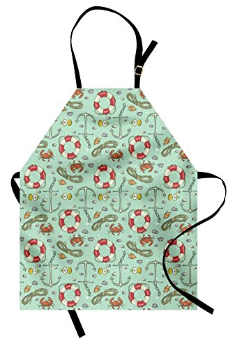 Lunarable Nautical Apron, Life Shell Stones Crab Underwater Adventure Navigation Sailboat, Unisex Kitchen Bib with Adjustable Neck for Cooking Gardening, Adult Size, Mint Green