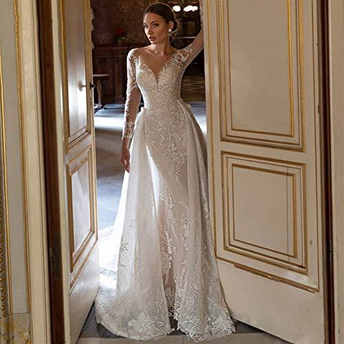 WANGMEILING Vestido de novia blanco Vestido de novia de la vendimia vestido de boda de la sirena magnífica Apliques desmontable del cordón del tren rebordear con cuello redondo de manga larga