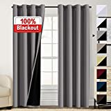 Double Layer 100% Blackout Curtains for Bedroom 84 Inches Long Thermal Insulated Lined Curtains for Living Room | Full Light Blocking Energy Saving Grommet Drapes Draperies, 2 Panels, Grey