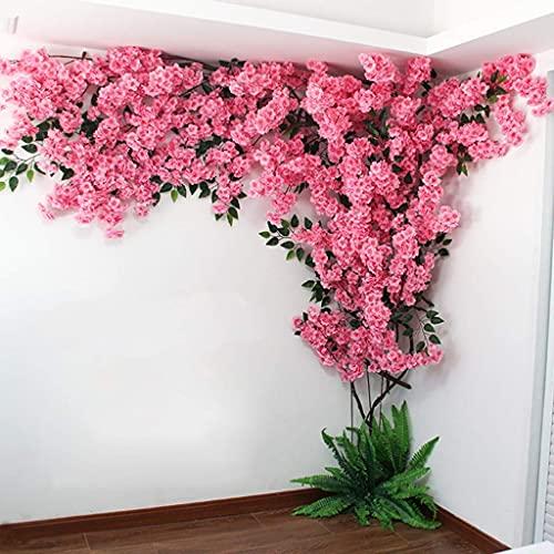 XJZKA Árbol de Flor de Cerezo Artificial Guirnalda de Seda Hogar Decoración de Fiesta de Boda Árbol de simulación Decoración de Pared Interior al Aire Libre, A