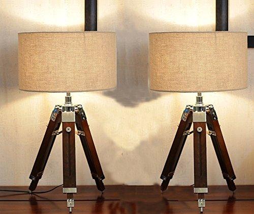 Beverly Studio 12 Inches Beige Drum Shade Sheesham 12 Inches High Wooden Tripod Lamp