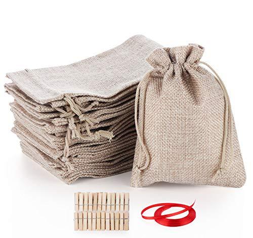 DIY 24 Calendario dell'Avvento da riempire con sacchetti di stoffa, sacchetti regalo con 24 numeri dell'Avvento, adesivi in feltro 2020, set di imbottitura, non cadono facilmente.