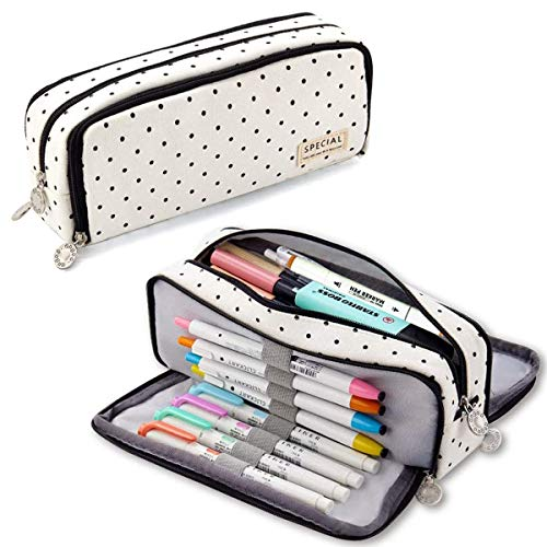 SEBELI Pencil Case Big Capacity 3 Compartments Pouch Stationery Art Pen Bag for Girls Teens Students School & Office Supplies - Black Dots