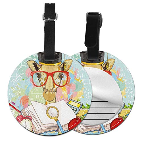 Round Travel Luggage Tags,Hipster Giraffe Animal with Glasses and Cap Geek Student in Education School,Leather Baggage Tag