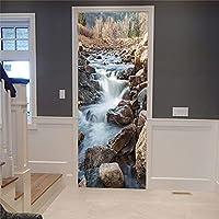 ドアデカール壁画ステッカー 小さなクリークドアステッカー3Dポスターホーム粘着装飾Pvcデカール壁紙