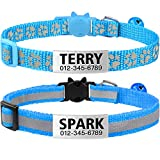 TagME Cat Collars Quick Release with Name Tag, Personalised Reflective Kitten Collar with Bell & Safety Release, 2 Pack SkyBlue