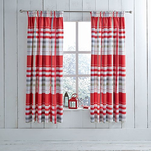 Charlotte Thomas Camden Red/Grey Lined Pencile Pleat RMCs with Tie Backs 168 x 138cm Tende pronte, Poliestere e Cotone, Rosso/Grigio, King Size:, 183 x 168 x 1 cm, 2 Set