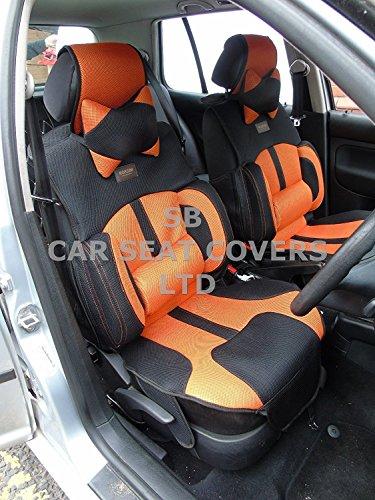 R – Adecuado para Hyundai i20 Coche Activo, fundas de asiento, malla de color naranja