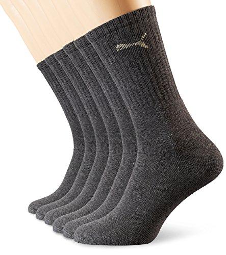 PUMA Unisex Crew Socks Socken Sportsocken MIT FROTTEESOHLE 6er Pack anthracite 201 - 43/46