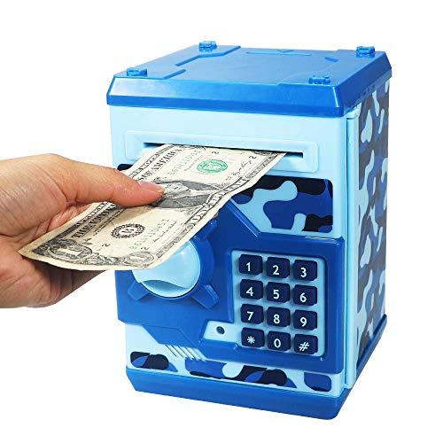 HUSAN Hucha electrónica para niños con código electrónico de cerditos, Mini cajero electrónico para Monedas ATM, Caja de Monedas, Juguete Divertido Regalo (Azul Camuflaje)