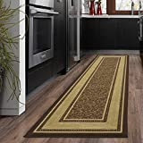 Ottomanson OTH2208-2X7 Ottohome Bordered Runner Rug, 1'10' X 7', Chocolate Brown