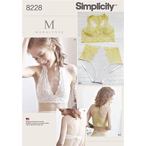 Simplicity 8228Patrons Soft Cup Soutiens-Gorge et Culotte, Blanc