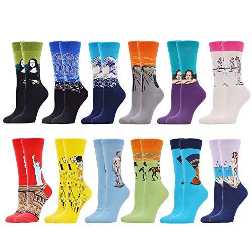 WeciBor Damen Lustige Bunte Socken Witzige Strümpfe Bunte Gemusterte Muster Beiläufig Socken Verrückte Modische Mehrfarbig Socken (12 Paar Ölgemälde 1)