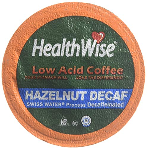 HealthWise Hazelnut Low Acid Swiss Water Decaffeinated Coffee for Keurig K-Cup Brewers, 100% Colombian Decaf --12 count
