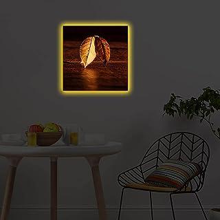 لوحة فنية قماشية للديكور مصنوعة من مواد مختلطة واضاءة ليد 4040DACT-36 - تصميم زهور