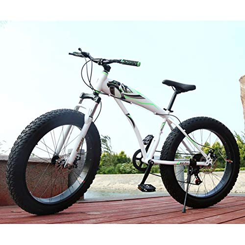RNNTK Adult Fat Bike Anti-Slip Outroad Racing Cycling, High Carbon Steel Frame BMX All Terrain Mountain Bicycle,Double Disc Brakes A Variety of Colors A -24 Speed -26 Inches