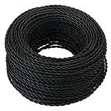 GreenSun LED Lighting 20 Meter Cable Textil Electrico, Cables de Revestimiento Cables Trenzados Vintage Cables de Alimentación con Conductor de Protección 2x0.75mm² Trenza Simple, Negro