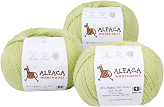 Blend Alpaca Yarn Wool Set of 3 Skeins Worsted Weight - Heavenly Soft and Perfect for Knitting and Crocheting (Mint Green, )