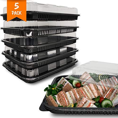 Bandejas de plástico reutilizables para sándwiches de buffet con tapas de plástico transparente, bandejas para dulces y sándwiches y platos daneses con tapas - Paquete de 5 (33,5 cm x 24 cm)
