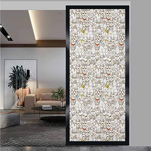 "W 17.7"" x L 35.4"" Child bedroom and baby glass sticker glass window film sticker glass home thermal control UV resistance,Bunch of Cats Sweet Family Animals Best Company Doodle Style Kitties Baby Cart"