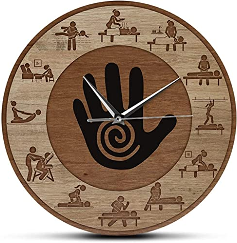 Grande decoración reloj de pared masaje fisioterapia estampado pared reloj masaje masaje relajarse cuidado cuerpo cuidado spa salón terapeuta oficina negocio signo terapeuta regalo fácil de leer para