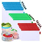 TEENKON 15 Pcs Reusable Mesh Produce Bags, Washable Zero-waste Vegetable Fruit Refrigerator Keep Fresh Bags, Premium Eco Friendly Toy Grocery Storage Net Bag, 5 Small 5 Medium & 5 Large