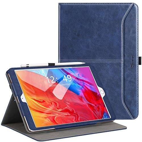 ZtotopCase Case for iPad 10.2 Case, Fit iPad 8th Generation (2020)/7th Generation (2019), Premium Leather Business Folio Cover With Pocket and Auto Wake/Sleep Function, Multi-angle, Blue