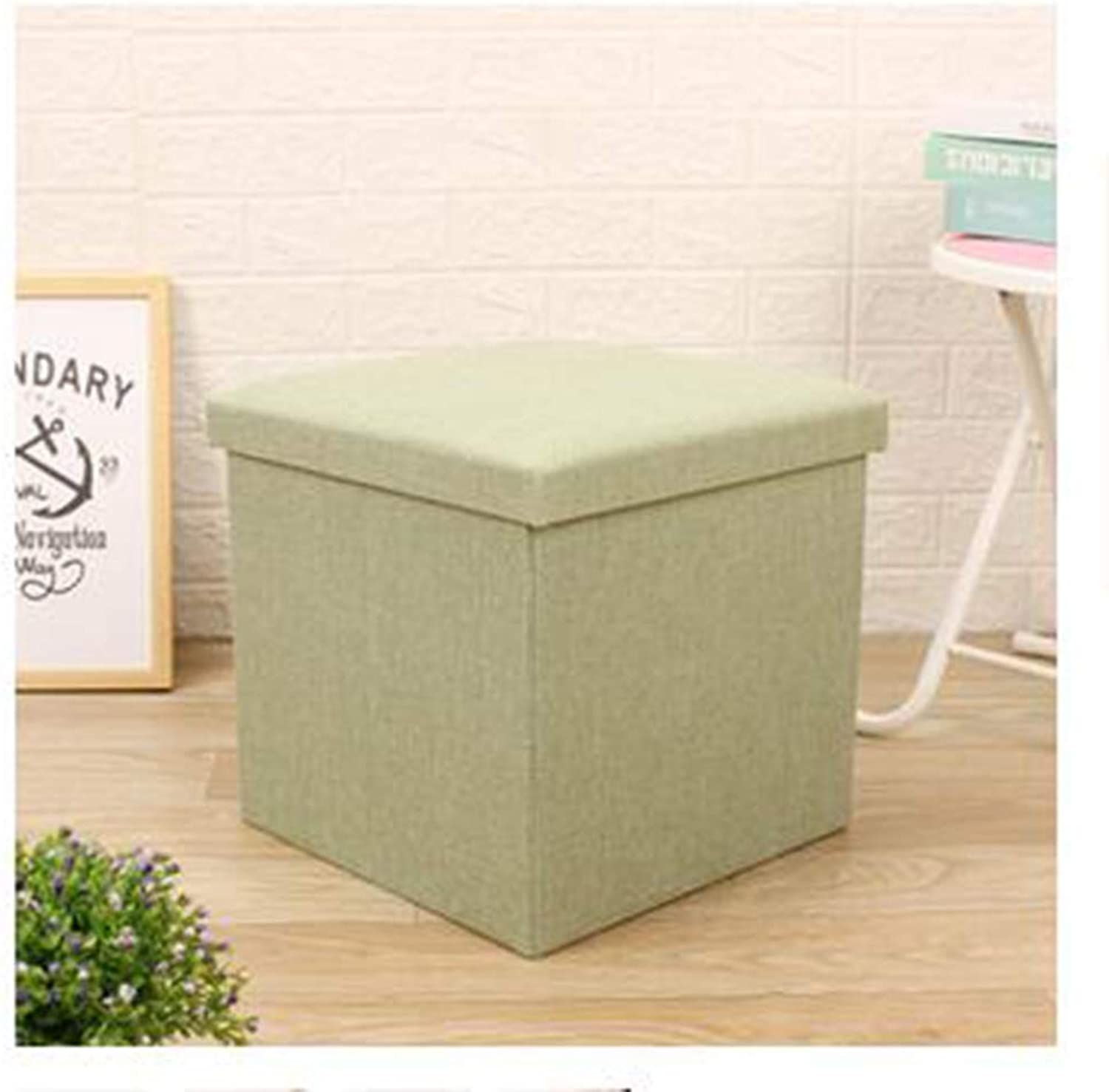 Storage Box Solid color Simple Cotton and Linen Large Storage Bench Square Bedroom Footstool Folding shoes Storage Storage Box,D