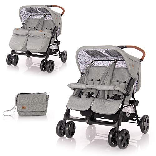 Lorelli Zwillingskinderwagen TWIN Wickeltasche Einhand-Klappsystem Fußabdeckung, Farbe:hellgrau