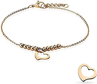 Cavigliera/bracciale in acciaio inossidabile oro rosa con catena a cuore e multi perle