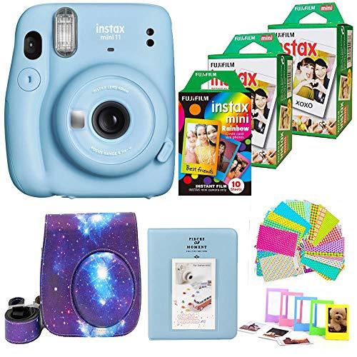Fujifilm Instax Mini 11 (Blue) Camera with 2X Fuji Instant Film Twin Pack - Fujifilm Instax Mini Rainbow Film + Galaxy Case, Album, Stickers, Accessories Bundle