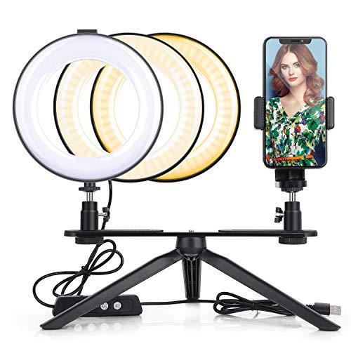 JIM'S STORE Ringleuchte Stativ Ringlicht Selfie 64 LED mit 360 ° drehbarer Handyhalter dimmbar für Live Stream YouTube Videosschooting Make-up Vlog Kamera 4.5w 5500k