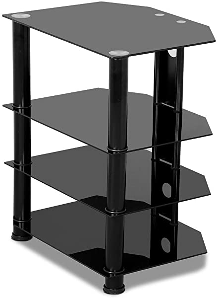 Yaheetech 4 Tier Component Media Stand Audio Video Rack Entertainment Center With Cable Management Storage For Xbox Playstation Speakers Cable Boxes Black Glass Desktop 110Lb Capacity