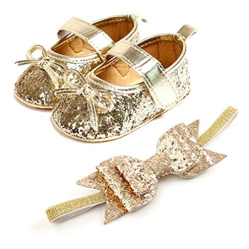 TMEOG Baby Kleinkind Mädchen Schuhe mit Stirnband Bowknot weiche Sohle Prinzessin Schuhe Lauflernschuhe für 6-18 Monate (A_Gold, 9_Months)