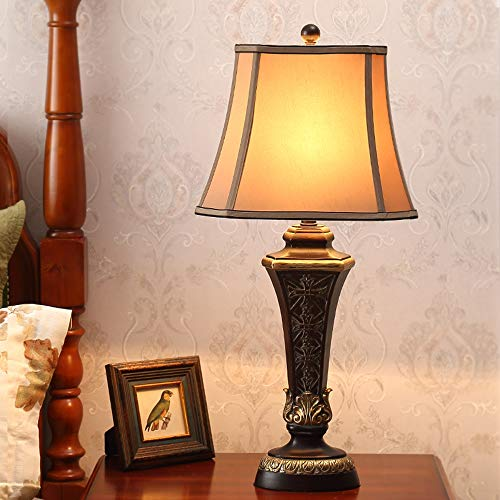 American vintage bedlamp, rustieke hars body tafellampen, klassieke nostalgische stoffen kap tafellamp, geschikt voor slaapkamer en geschenken bureaulamp